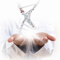 image of dna strand floating over hands