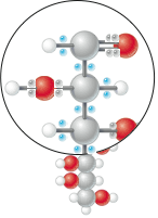 Sugar molecule with blue energetic electrons and gray low-value electrons