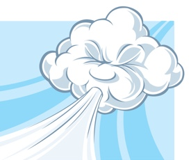 Image of cloud blowing as the North wind